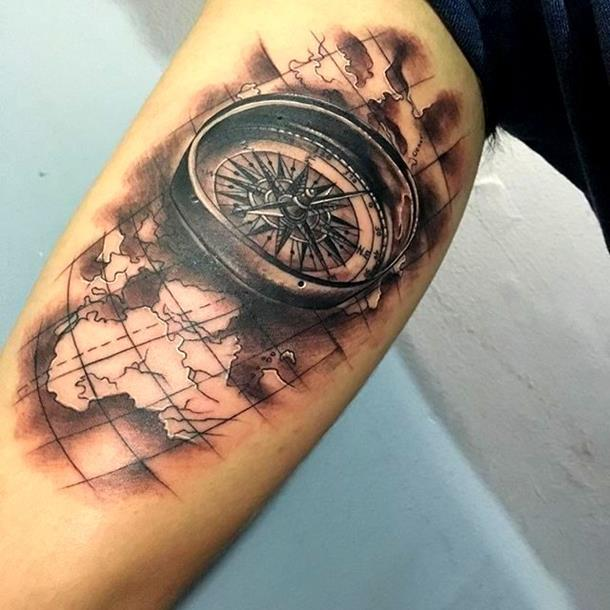 atlas and a compass