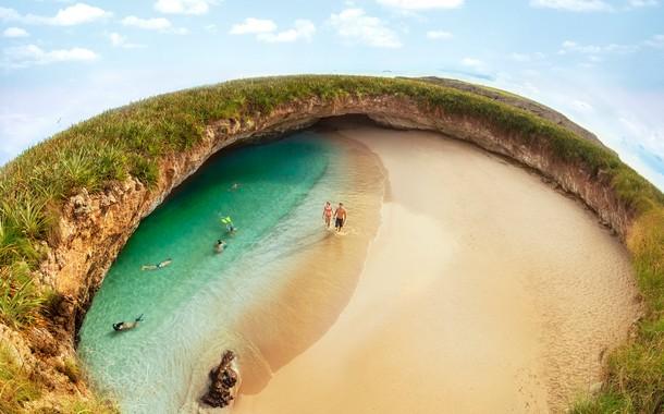 Hidden beach located in Marieta, Mexico