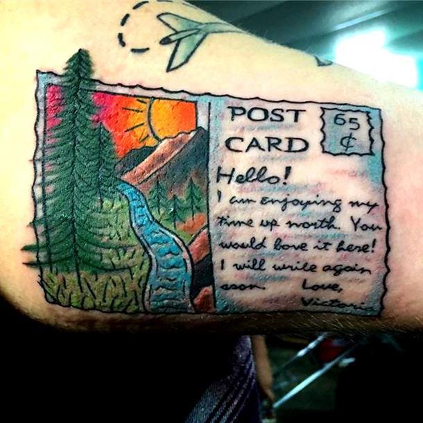 Post card tattoo