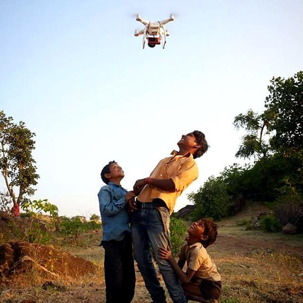 Rajasthani kids amused at the sight of drone
