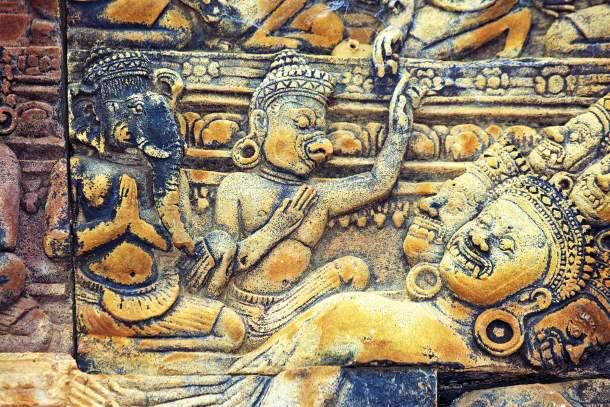 Sacred hindu bas-relief in Angkor Wat