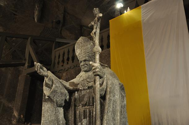 Salt sculpture of Pope John Paul II