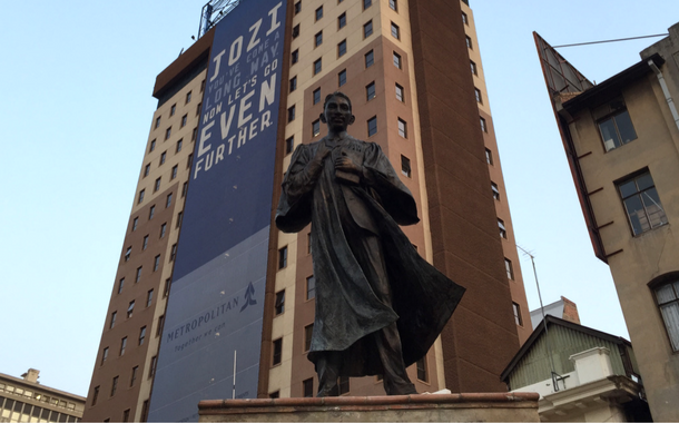 Statue of a young Gandhi in Johannesburg