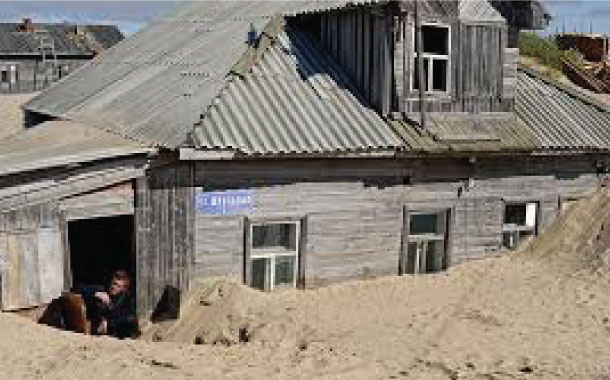 The sinking sand village, Russia