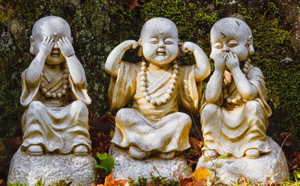 Three wise Buddha statues, Japan
