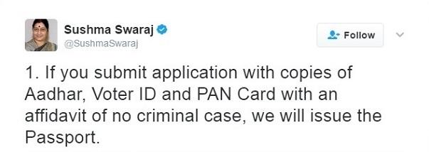 Tweet 1 @SushmaSwaraj