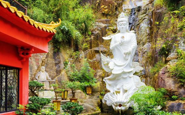 White Buddha statue in Ten Thousand Buddhas Monastery, Hong Kong