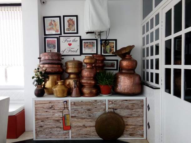Display of copper vessels, Rendezvous Cafe Restaurant