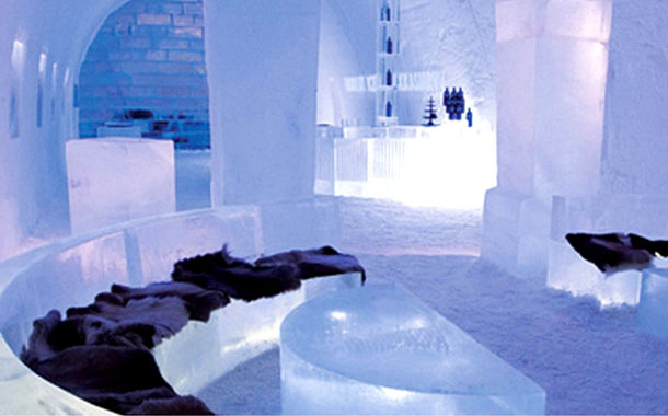 Inside view of the Icehotel, Sweden